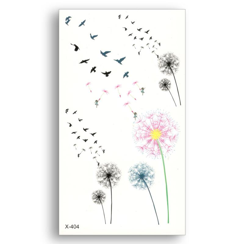 Colored Dandelion Fake Temporary Tattoo Water Transfer Stickers