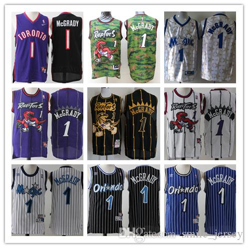 sale retailer 620c8 f984e Retro Mens 1 Tracy McGrady Basketball Jerseys Stitched Hardwood Classic  Mesh Magic Raptors Rockets Tracy McGrady Retro Jerseys