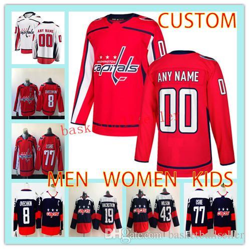 658049128e4 2019 Custom Hockey Jersey WASHINGTON CAPITALS MEN WOMEN KIDS Any Name  Number 19 Nicklas Backstrom 77 T.J. Oshie 43 Tom Wilson Hockey Jersey From  ...
