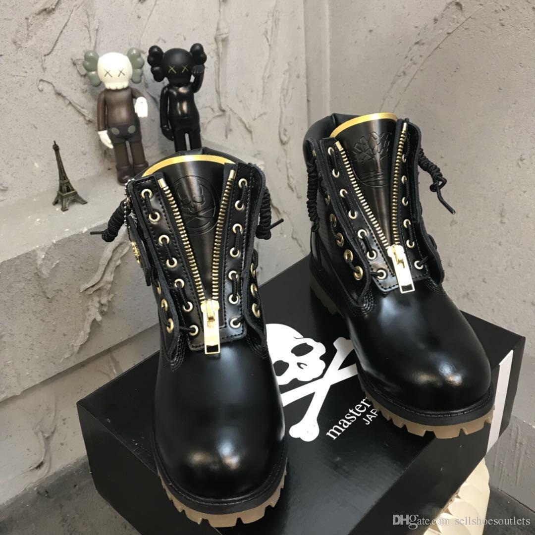 Heiße Art Neue Ankunft Männer MMJ Frauen Bauholz stilvolle Reißverschluss Stiefel Bergsteigen Schwarz Glatte Schuhe Wandern Trainer Stiefel TimLuxury