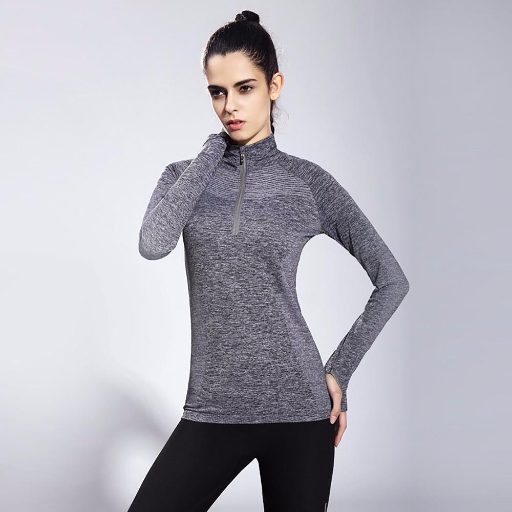 2019 Flandis Yoga Shirt Women Collar Tight Running Long Sleeve Sport