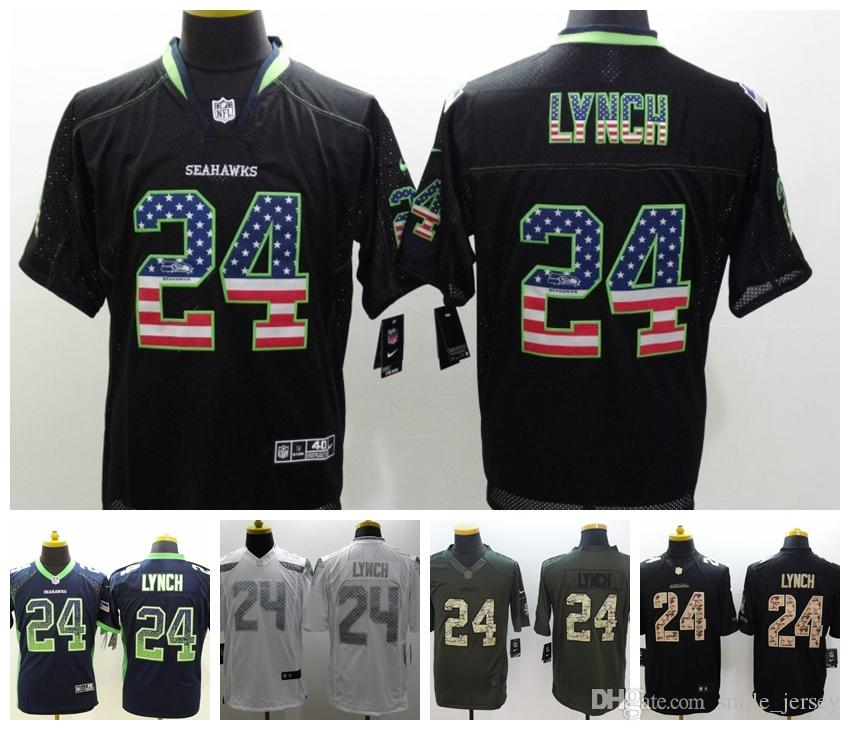 release date: ab781 5f977 New Mens 24 Marshawn Lynch Seattle Jersey Seahawks Football Jersey 100%  Stitched Embroidery Marshawn Lynch Color Rush Football Shirts