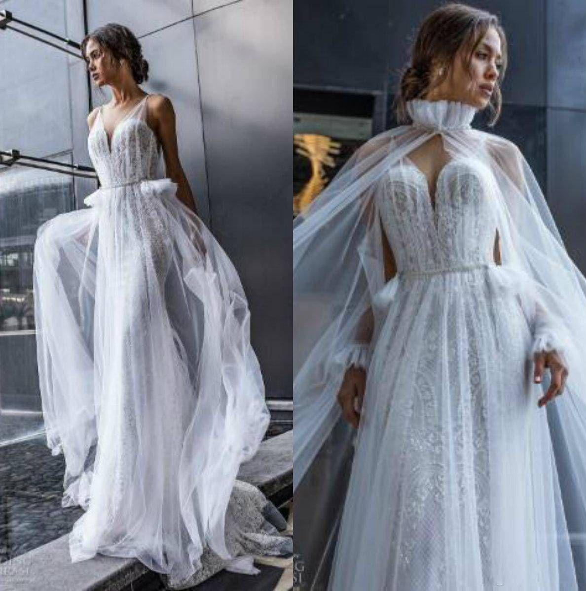 Discount Dimitrius Dalia 2018 Wedding Dresses With Free Cape V Neck Arabic  Lace Appliques Beach Wedding Dress Plus Size Lace Ball Gown Wedding Dresse  Plus ... 4e22094b69d8