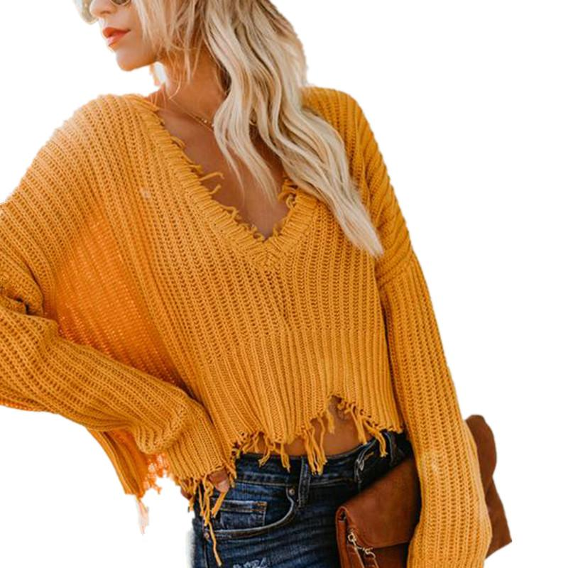 0c4d94ca5dd8 2019 Knitted Solid Loose Crop Sweater Casual Women S Autumn Winter Ripped V  Neck Long Sleeve Pullover Sweaters Ladies Tassel Sweater From Chenhanyang