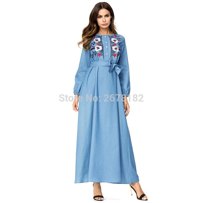 e560c23e4 Compre Vestido Largo De Mezclilla Azul Cielo Manga Larga Con Cinturón