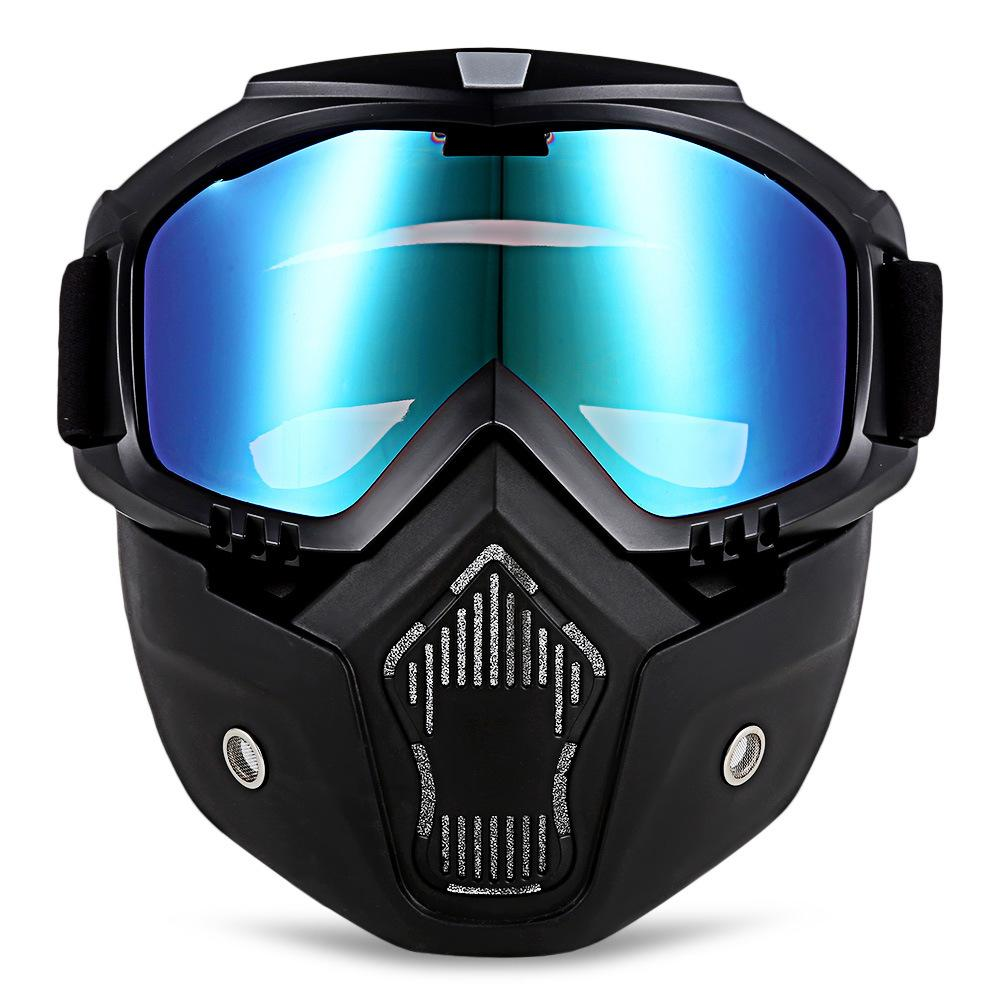 566ae6873fdb 2019 HI BLACK Modular Mask Detachable Goggles Mouth Filter Ski Glass ...