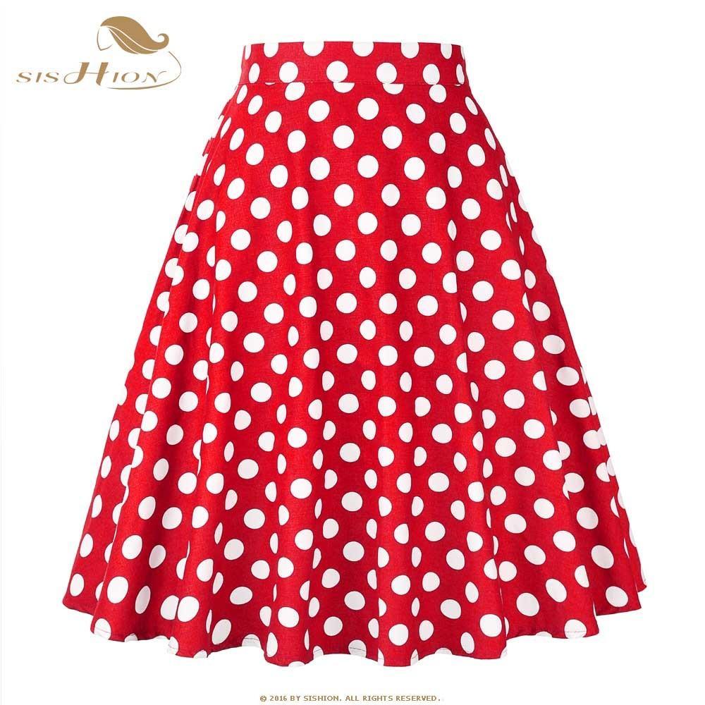 20c6a862b9e 2019 SISHION 2018 Blue Red Black White Women Skirts Polka Dot High Waist  Vintage Skirt Skater Midi Skirt Faldas Mujer Plus Size 177S2Y1882501 From  ...