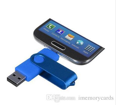 안드로이드 스마트 폰 정제를위한 다채로운 64GB 128GB 256GB OTG USB 회전 USB 2.0 플래시 메모리 스틱 PenDrives U Disk Thumbdrives