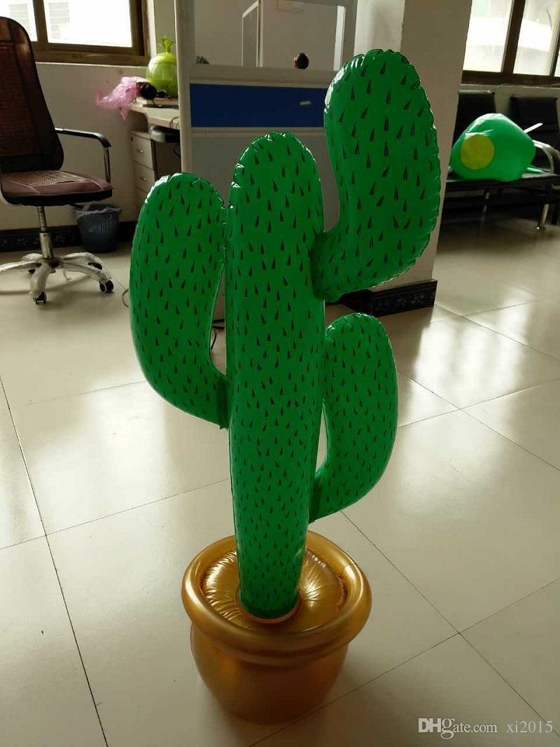 PVC Inflatable Cactus Wild West Mexican Hawaiian Fancy Dress Party Decoration Tropical plants summer beach decor 95cm wen5868