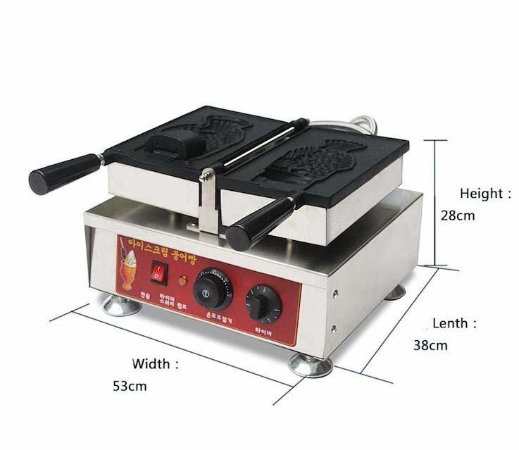 Elektrikli Büyük Ağız Balık Waffle Makinesi Taiyaki Makinesi Açık Ağız Kore Balık Waffle Yapma Makinesi Dondurma Balık Waffle Makinesi