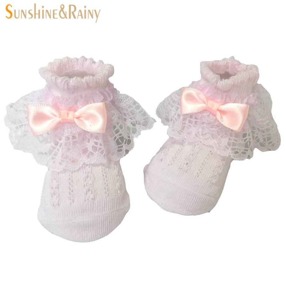 Großhandel Neugeborenes Baby Socken Weiß Rosa Spitze Bogen Baumwolle