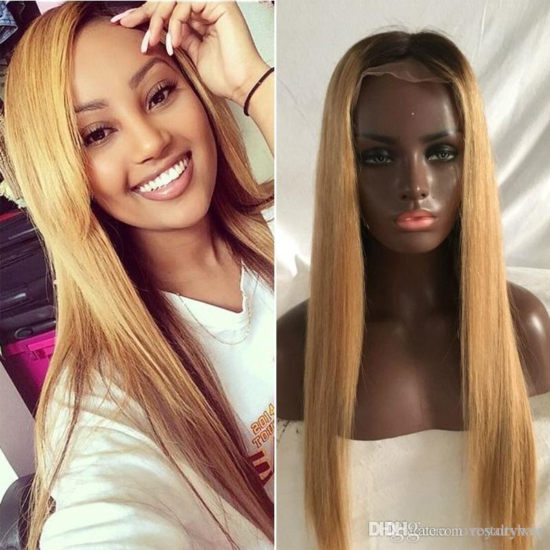 Мед блондинка кружева фронт парик Glueless полный кружева парики человеческие волосы Ombre парик черные корни 1b 27 природных прямые бразильские девственные волосы
