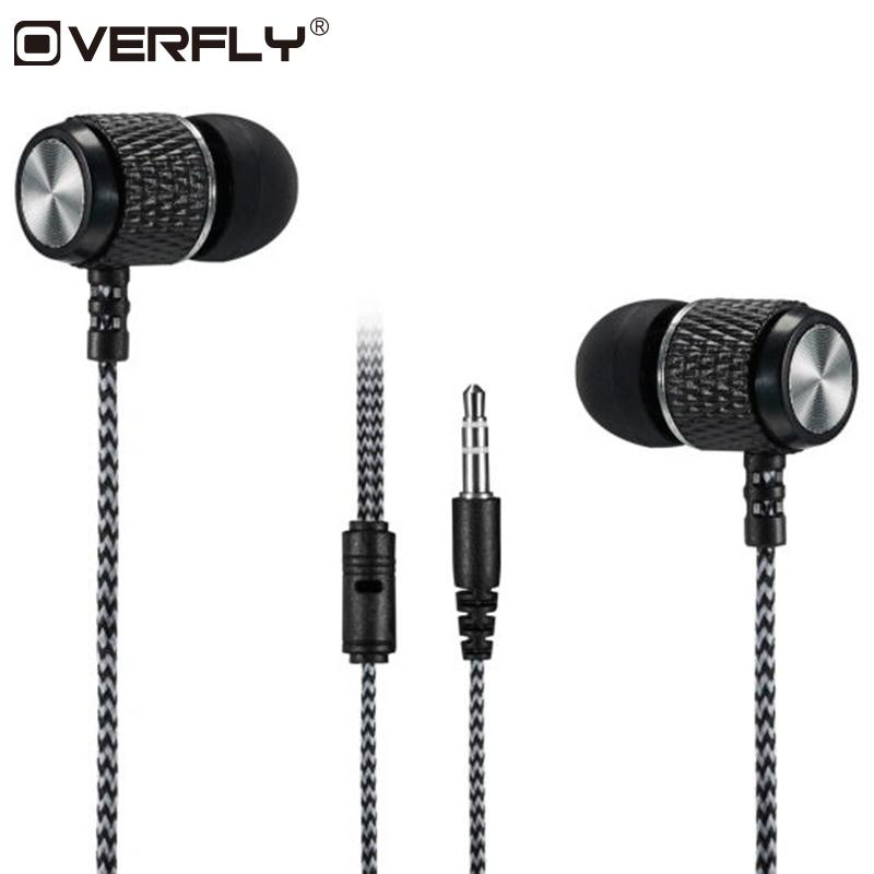 Overfly Bass Earphones Super Clear Metal Headphone Noise Isolating Earbud Headset For iphone Xiaomi MP3 PC Samsung