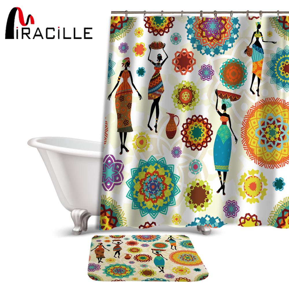 2018 Miracille Hippie Style Waterproof Bathroom African Dance Women Print Shower Curtains Non Slip Bath Mat Set For Doormat Outdoor From Sophine12