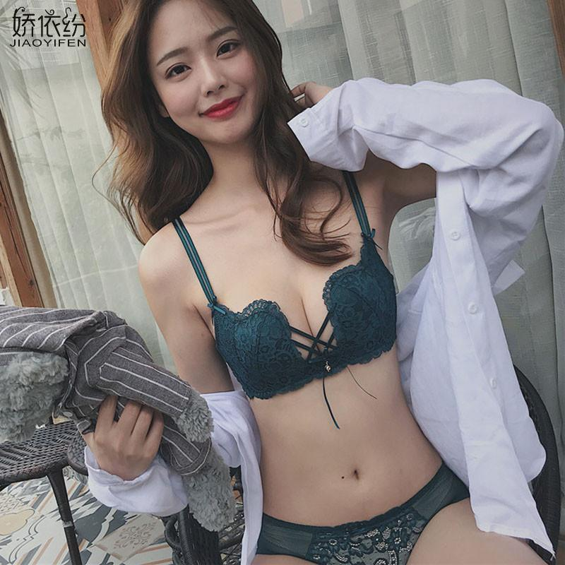 a7fe169740 2019 Fashion Lace Sexy W Cup Underwear Comfortable Breathable Shrink Line  Push Up Bra Set Small Chest Women Bra And Panty Sets From Guojiangclothes