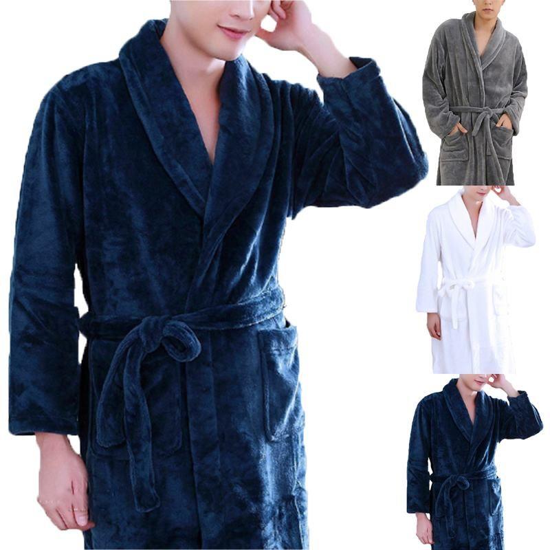 Men Bathrobe Warm Flannel Thick Pajamas Long Sleeve Lapel Unisex Men Women  Sleepwear Winter Soft Comfy Bath Robe Home 2018 Robes Cheap Robes Men  Bathrobe ... b7782a026