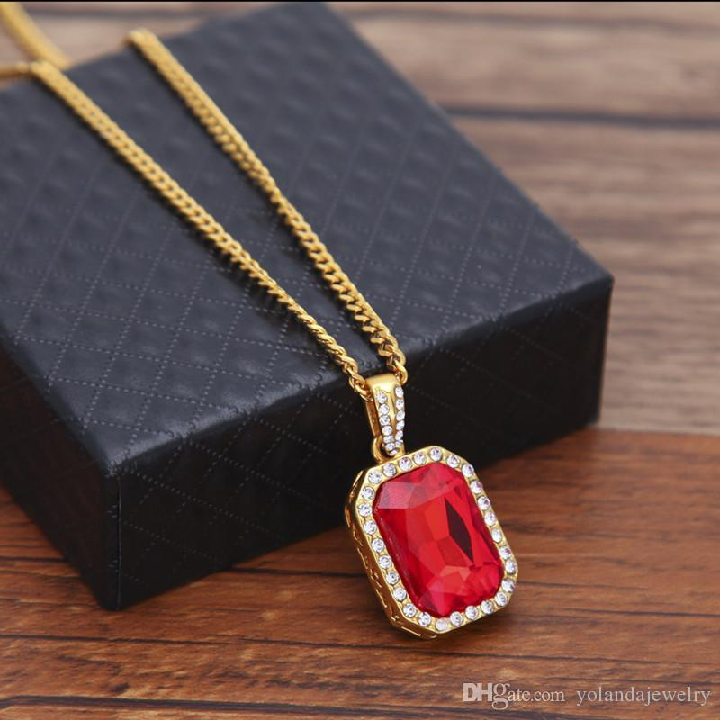 Mens Bling Faux Lab Mini Ruby Pendant Necklace 24