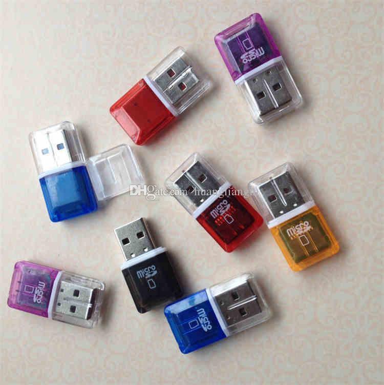 높은 속도 크리스탈 투명 USB 2.0 TF 플래시 T- 플래시 메모리 마이크로 sd 카드 판독기 어댑터 2 기가 바이트 4gb 8gb 16 기가 바이트 32 기가 바이트 64 기가 바이트 TF 카드