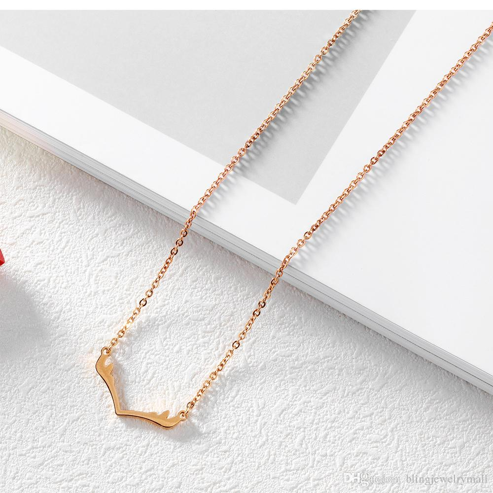 Fashion Elk Deer Antlers Women Pendant Necklace Rose Gold Color Link Chain Stainless Steel Necklaces Female Jewelry Gift GX1313