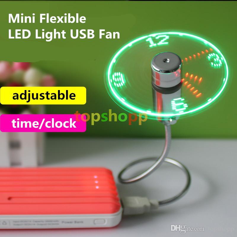 Yeni Dayanıklı Ayarlanabilir USB Gadget Mini Esnek LED Işık USB Fan Zaman Saati Masaüstü Saat Serin Gadget Gerçek Zamanlı Ekran Yüksek Kalite DHL