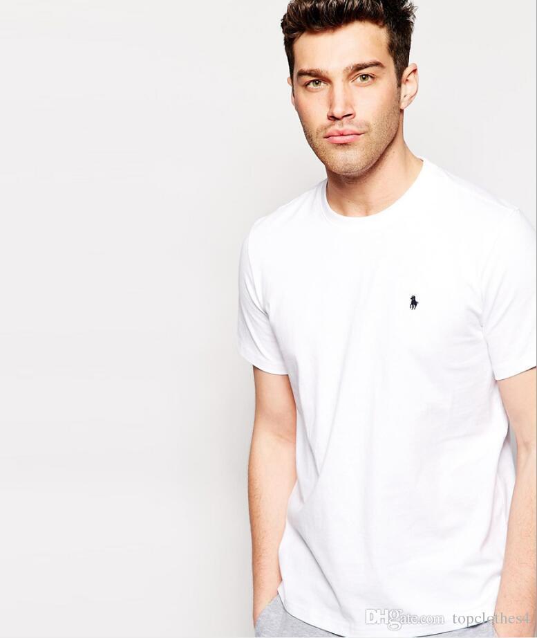 9ddc300b 2019 2018 T Shirt Men Black Summer T Shirt Men Small Horse Embroidery Short  Sleeve Solid Casual White Tshirt Men 100% Cotton Tee Shirt Tops S 6XL From  ...