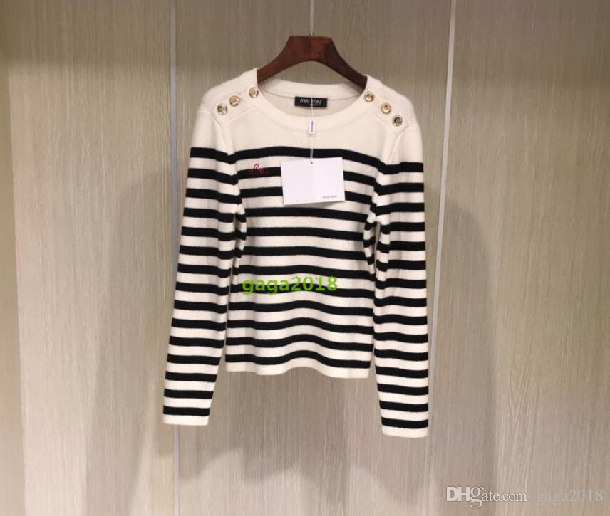 101f7108 2019 High End Women Wool Multicolor Viscose Silk Cotton Cardigan With  Stripes Jacquard Sweater CREW NECK Pullover Shirt Blouse With Embroidery  From Gaga2018 ...