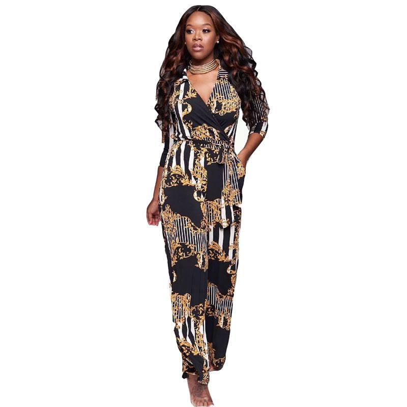 030dbb524667 2019 Bazin Riche Floral Printed Two Pieces Jumpsuit Romper Women Crop Lace  Up Top Autumn Playsuit Sexy Slim Party Club Femme Overalls From Glorying