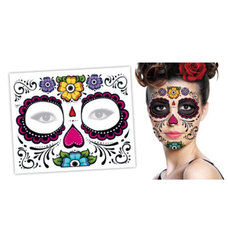 Langlebig Einfach zu entfernen Zucker Einzigartige Schädel Temporäre Floral Design Party Face Aufkleber Party Masken