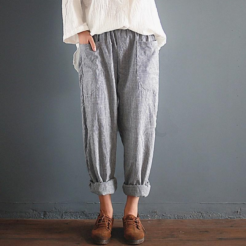 f0a53487ea6 2019 2018 Oversized ZANZEA Trousers Women Elastic Waist Pockets Long Harem  Pants Casual Retro Cotton Linen Striped Turnip Pantalon S914 From Ruiqi02