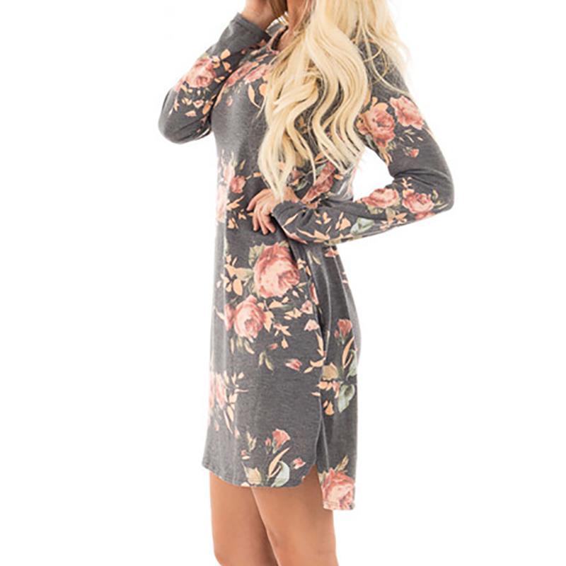 3f949bd7df98 Casual Women Floral Printed Autumn Dress 2018 Vintage Female Long Sleeve  Mini Dresses Pocket Loose Party Dress Plus Size GV845 Tunic Dress White  Dresses For ...