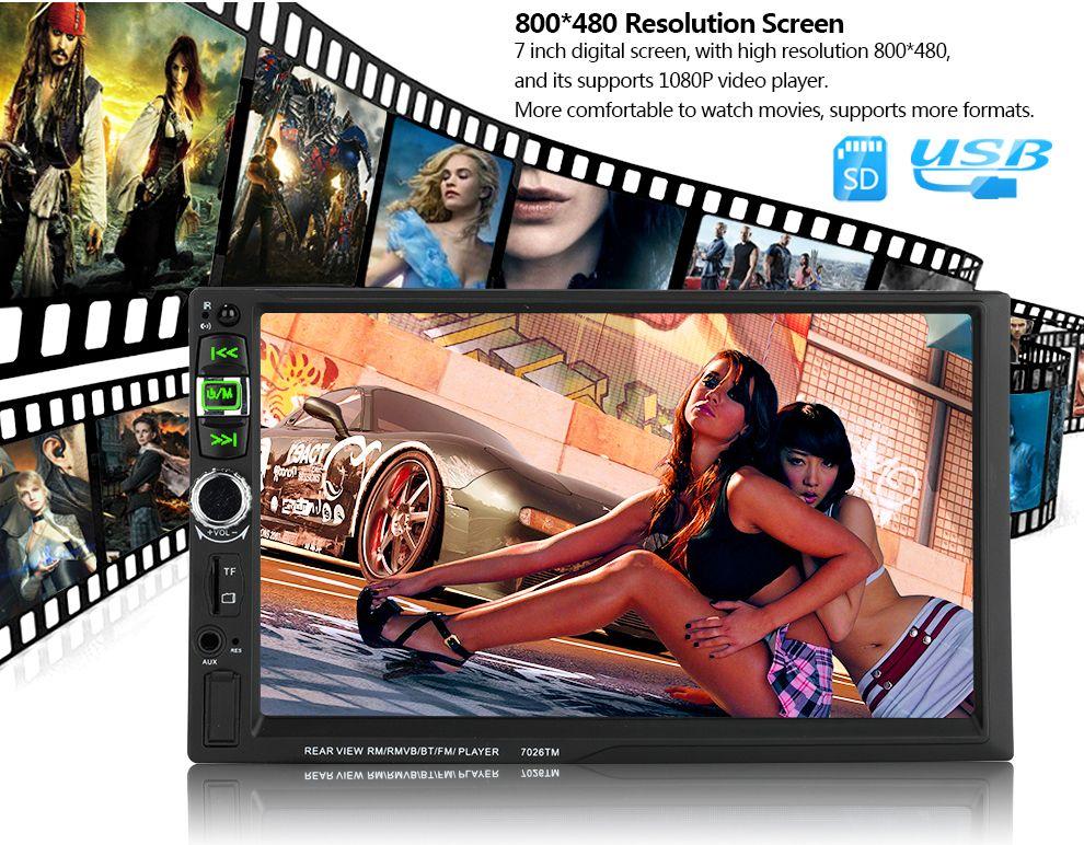 7026TM 2 Din Mirror Link 7 '' Bluetooth volante autoradio con telecamera posteriore 12 lingue Mp5 Mp4 USB TF FM Stereo