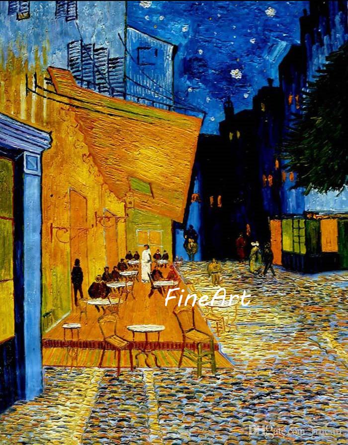 23c7624c554 2019 Hand Painted Oil Paintings Vincent Van Gogh Painting Cafe Terrace At  Night Famous Paintings Reproduction Home Goods Oil Painting Wall Art From  Fineart