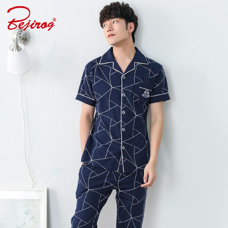 2019 Bejirog 2018 Plus Size Male Pijamas Sleep Lounge Short Sleeved Pajama  Set Men Sleepwear Cotton Nightie Casual Nightwear Summer From Baimu b39eb0004