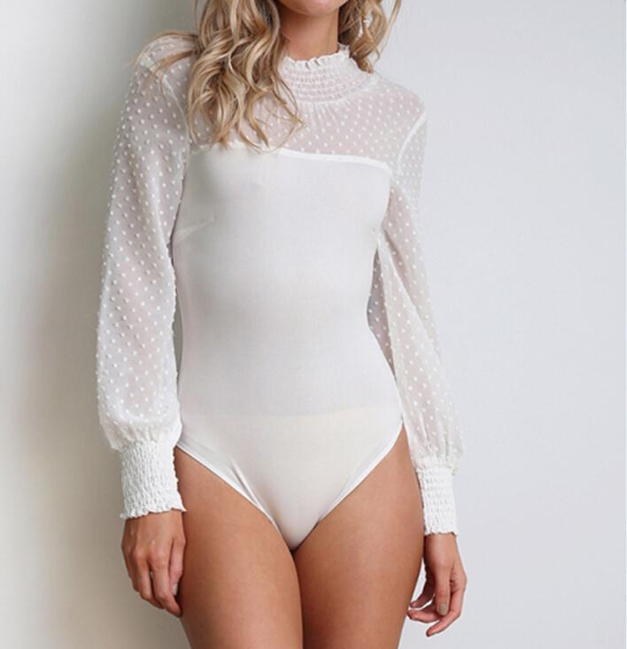 d83c7607db 2019 Women Long Sleeve Bodycon Bodysuit Leotard Tops Solid Red Black White  Solid Jumpsuit Romper From Illusory09