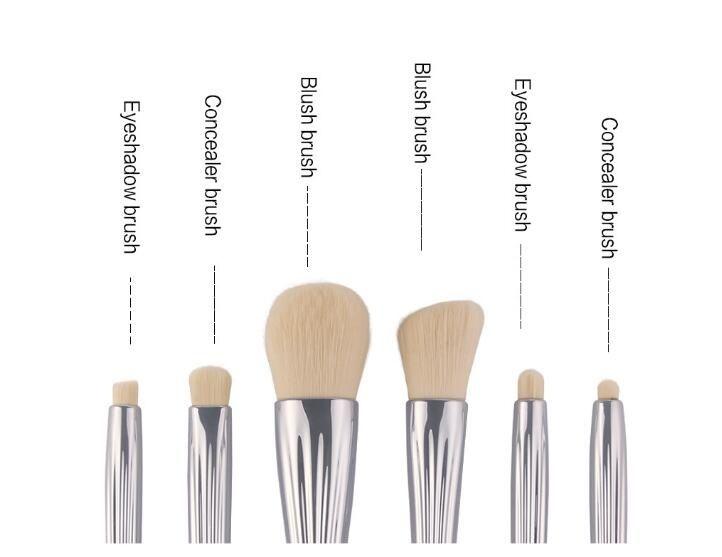 argent en aluminium tube pinceaux de maquillage en laine blush fondation pinceau conçoit shell professionnels fard à paupières cils brosses ensemble