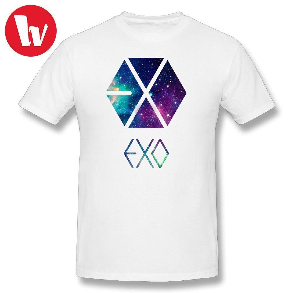 Exo Galaxy Print T Shirt Men Short Sleeve Casual T Shirt Plus Size