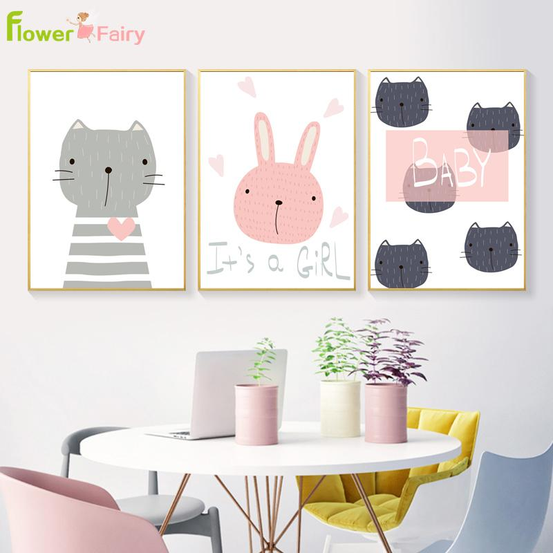 rabbit nordic poster cartoon baby girl wall art pictures canvas