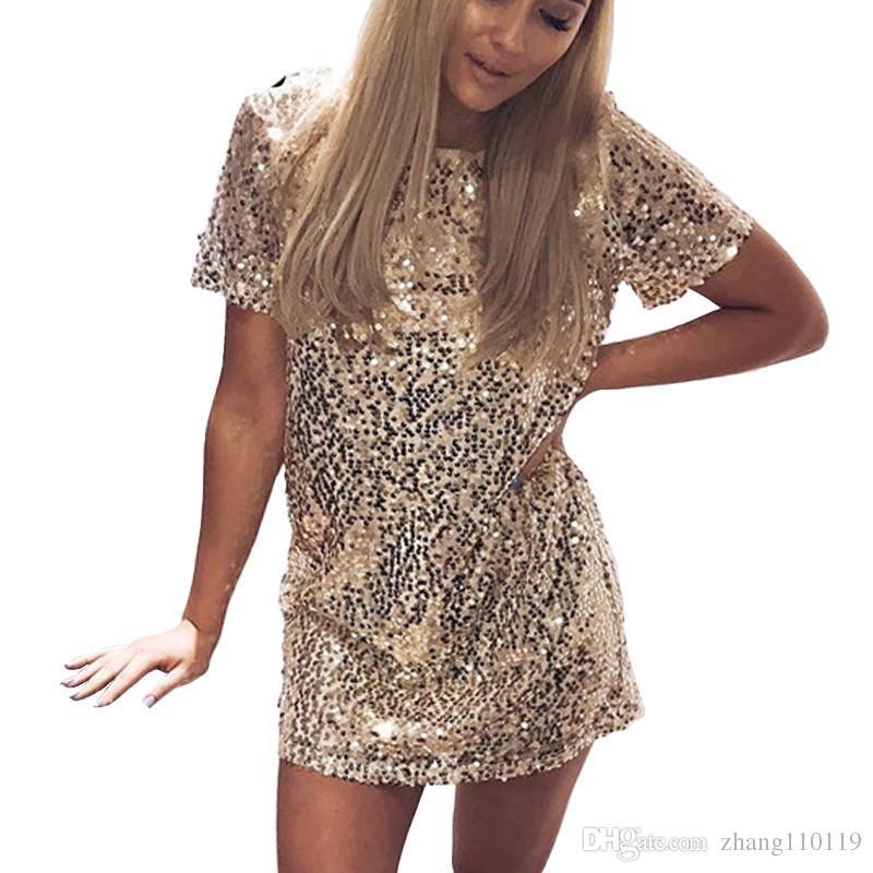 13fdb7002e5c Großhandel Pailletten Gold Kleid 2018 Sommer Frauen Sexy Kurze T Shirt Kleid  Abendgesellschaft Elegante Club Kleider Von Zhang110119,  20.24 Auf  De.Dhgate.