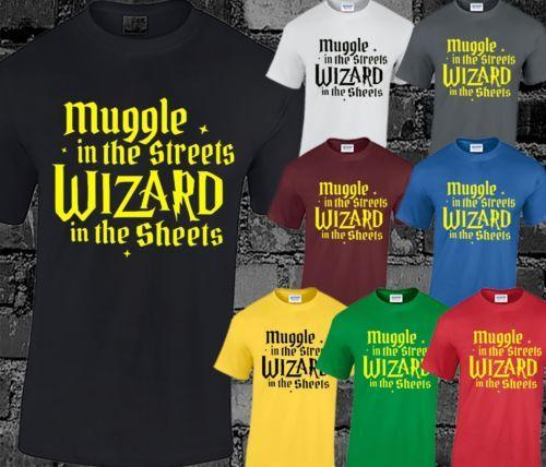 MUGGLE MENS T SHIRT FUNNY WIZARD MAGIC POTTER DIVERTENTE DESIGN MOVIE WAND