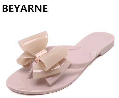 BEYARNE Moda kadın jöle plaj sandalet lady flip flop daireler yağmur ayakkabı kadın yaz Terlik siyah beyaz pembe 36-41 yeşil 39
