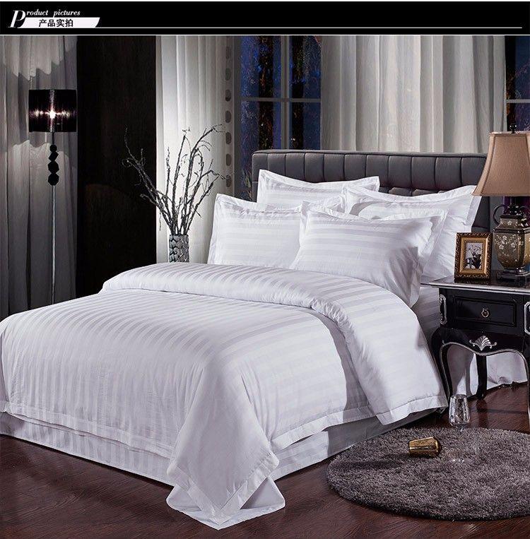 Branco Streak Hotel conjuntos de cama rainha rei cama ajustado cor sólida capa de edredão de algodão lençol para quarto de hóspedes têxteis lar