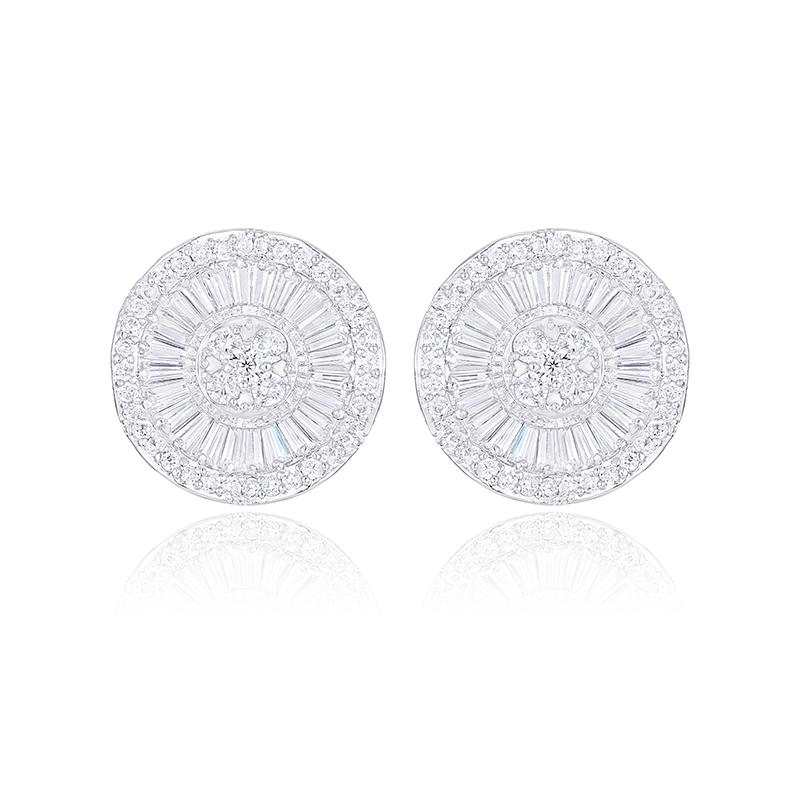 399132c82 Brincos Luxury Super Big Round Flowers Coin Shape Silver Wave Pave Micro  AAA CZ Delicate Stud Earrings For Women Charm Online with $33.21/Piece on  ...
