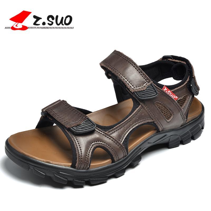 090fe302 Compre Sandalias Z. Suo Para Hombre, Moda Y Ocio Zapatillas De Playa, Suela  De Goma Zapatillas Antideslizantes Masculinas Sandalias.Sandalias DE Cuero  DE ...