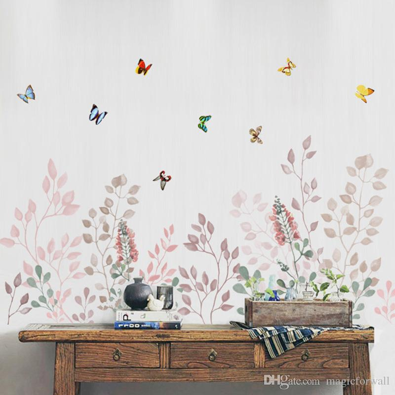 Grass Wall Skirting line Decals Butterfly Flying among Flowers Mural Poster Wall Border Decoration Art Graphic Headboard Wall Stickers