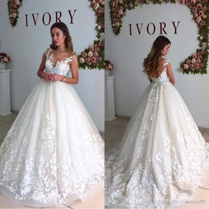 6942309d934 Discount 2018 Elegant Lace Wedding Dresses Sheer Neck Cap Sleeves Maternity  Pregnant Backless Beach Plus Size Custom Made Bridal Gowns BA6429 Beautiful  ...