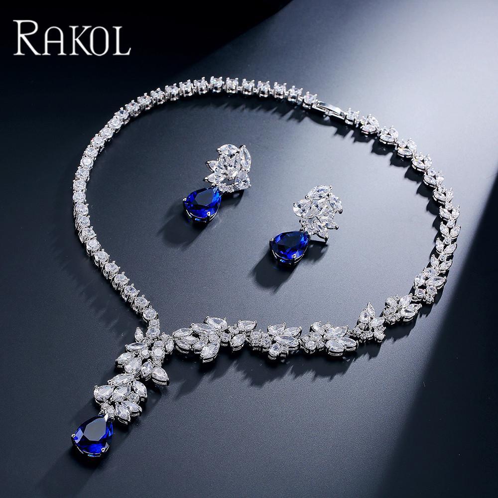 a85dfbf08fa1 Compre Rakol Exclusivo Dubai Gold Color Jewelry Lujo Cubic Zirconia Necklace  Earring Pulsera Party Jewelry Set Para Mujeres A  49.24 Del Shanjumou