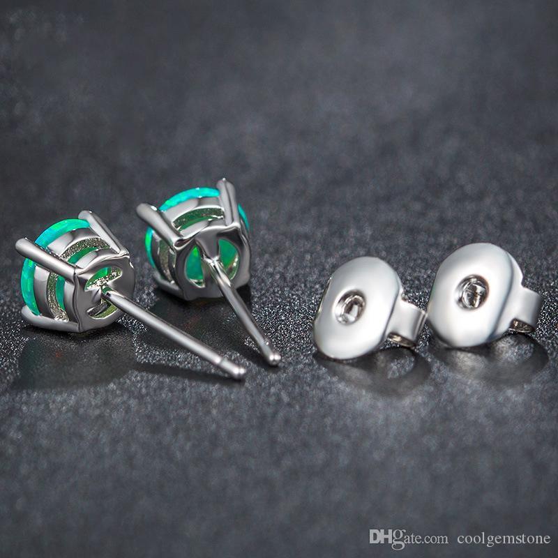 / hermosos diseños de la princesa real para casarse con encantos de la boda forma redonda de ópalo de fuego moda plata 925 aretes