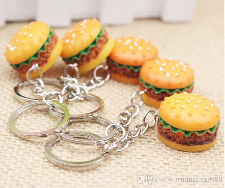 3d الراتنج همبرغر المفاتيح البسيطة الغذاء همبرغر سلاسل المفاتيح الذهب حلقة تسلق حلقة رئيسية يحمل هانغباغ معلقة 30 قطع