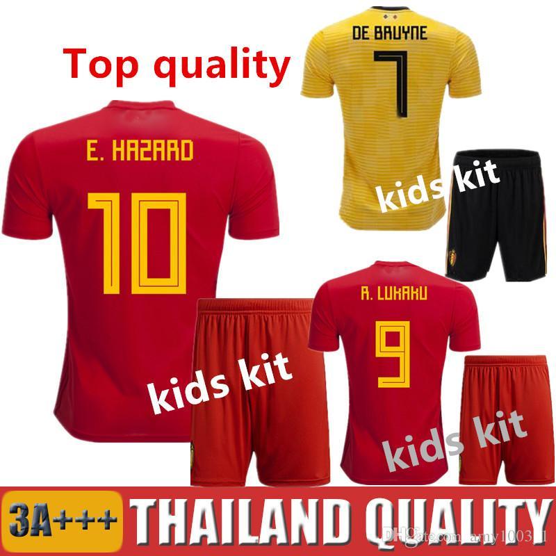 2eb03e1fe 2019 2018 Kids Belgium Soccer Jersey Home Red LUKAKU FELLAINI E.HAZARD  KOMPANY DE BRUYNE 18 19 World Cup Football Shirt Boys Uniforms Camiseta From  ...