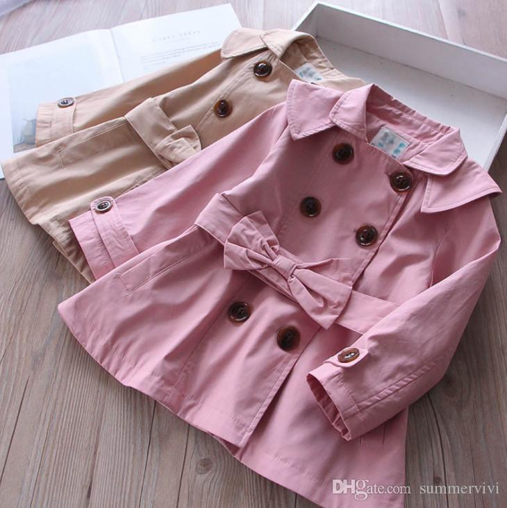 ee39004a6 Girls Treach Coat 2018 Autumn New Children Lapel Capes Long Sleeve ...